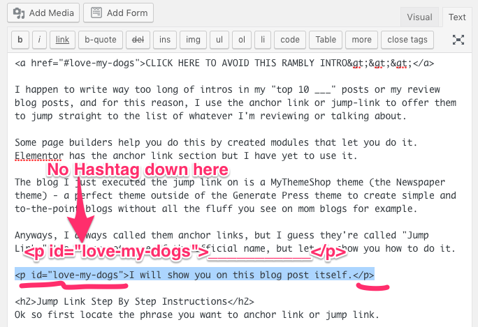 jump links wordpress tutorial